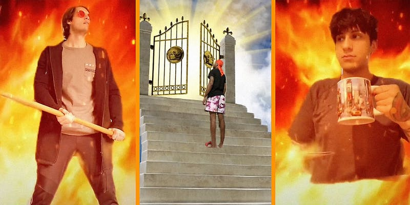 A man standing in fake flames (L), a man standing at heaven's gate (C), and a man drinking coffee in fake flames (R).