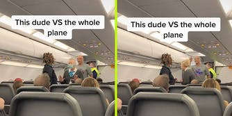 A man and two flight attendants on a plane.