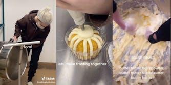 nothing bundt cakes employee grabbing bowl, icing bundt cake, and squishing butter