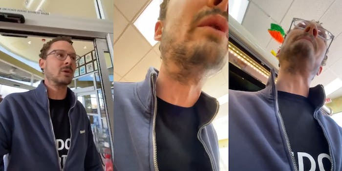 man enters store without mask against store policy