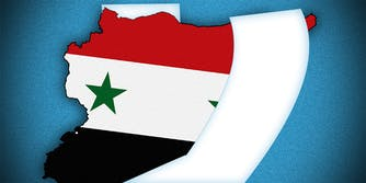 Venmo logo and Syria map outline together on blue background.