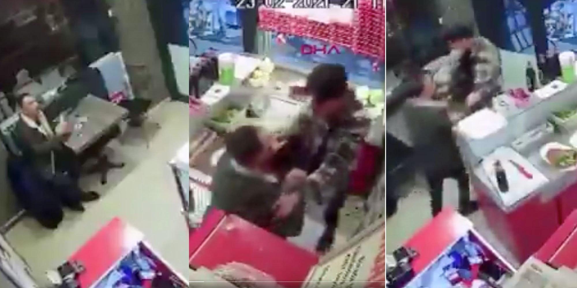 viral video turkish restaurant fight