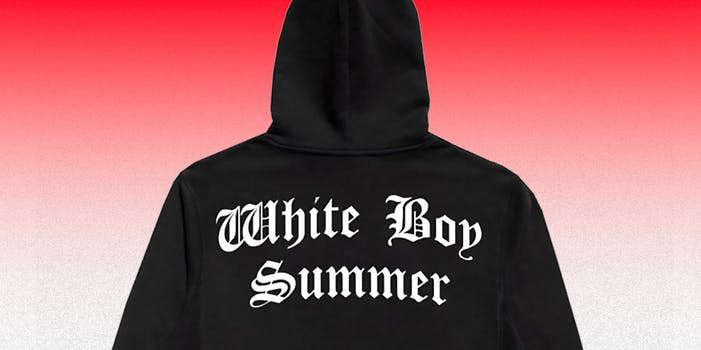 A black hoodie that has 'White Boy Summer' written on it.
