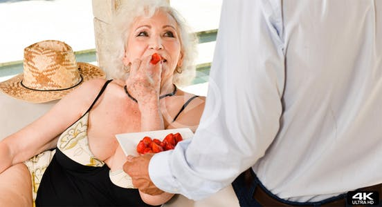 """NormaB eats strawberries in """"80 Years Old, Still a Diva"""" for 21sextreme"""