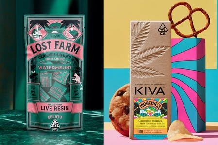 On the right is a bag of Lost Farm's Watermelon weed gummies and on the right is a Kiva Confections munchies bar. Both are on multi-color abstract backgrounds.
