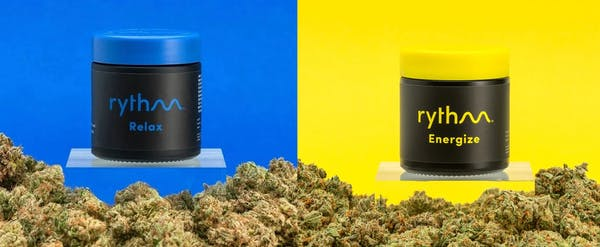 Rythm cannabis products on the left is Bananas and Cream with a blue background. On the right is white durban strain on a yellow background.