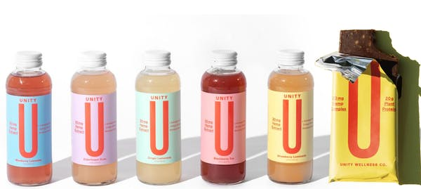 UNITY Wellness Co. CBD beverages and protein bars.