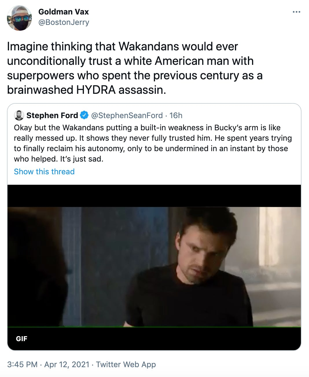Imagine thinking that Wakandans would ever unconditionally trust a white American man with superpowers who spent the previous century as a brainwashed HYDRA assassin.