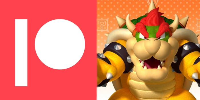 A side-by-side shot of the Patreon logo and Nintendo's Bowser.