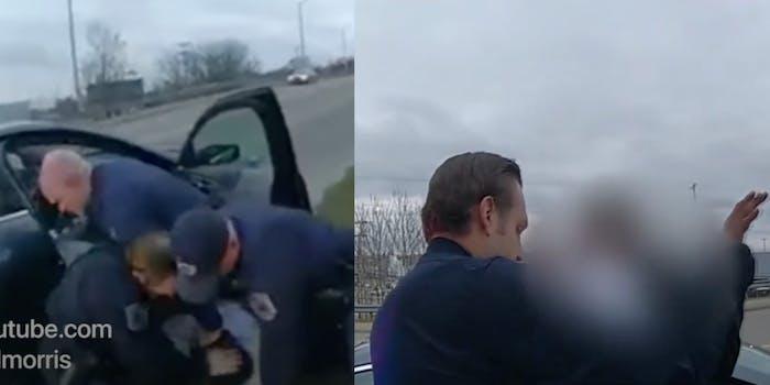Cops punch Diabate Hood and arrest his friend