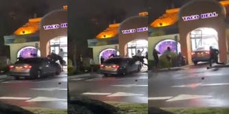 Video shows car ramming into a group of Taco Bell employees