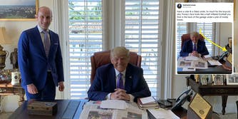 A photo of Stephen Miller and Donald Trump with a tweet next to it pointing out that Trump hid a bottle of Coke behind a phone on his desk.