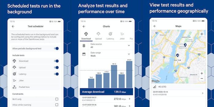 Three screenshots from the FCC Internet Speed Test App