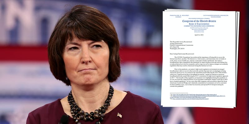 Rep. Cathy McMorris-Rodgers next to a letter sent by House Republicans to Acting FCC Chair Jessica Rosenworcel arguing against restoring net neutrality rules.