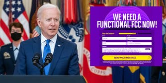 Joe Biden at a podium next to a screenshot of BattlefortheNet.com's petition urging Biden to fill out the FCC with a commissioner without telecom ties.