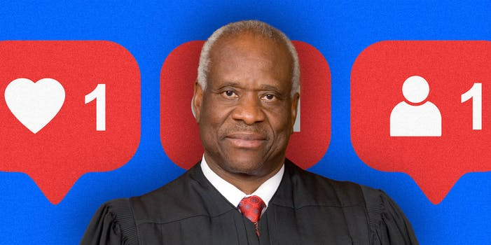 Judge Clarence Thomas over a background of social media icons.
