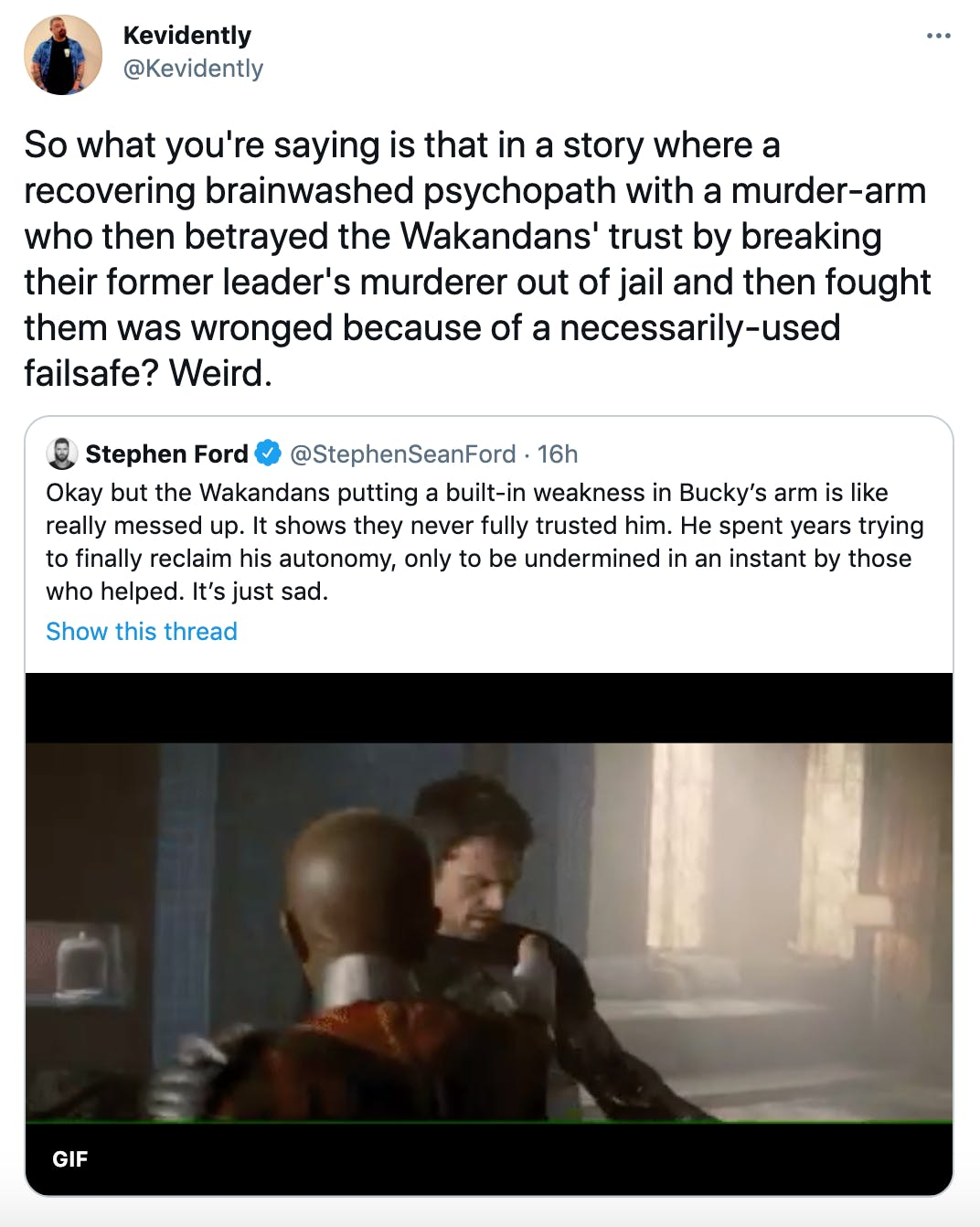 So what you're saying is that in a story where a recovering brainwashed psychopath with a murder-arm who then betrayed the Wakandans' trust by breaking their former leader's murderer out of jail and then fought them was wronged because of a necessarily-used failsafe? Weird.