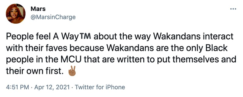 People feel A Way™️ about the way Wakandans interact with their faves because Wakandans are the only Black people in the MCU that are written to put themselves and their own first. ✌🏾
