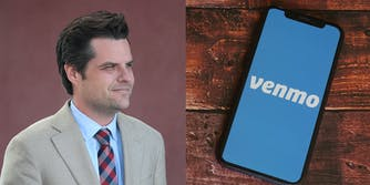 Rep. Matt Gaetz side by side with a phone showing the Venmo logo.