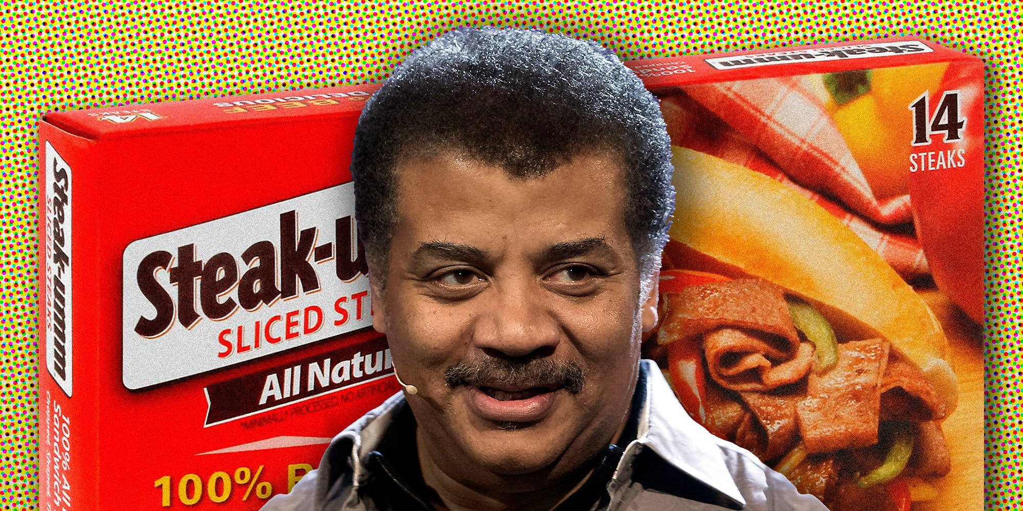 Neil deGrasse Tyson and a box of Steak-umm.