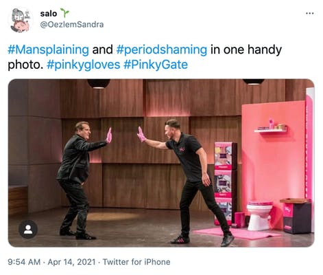 """""""#Mansplaining and #periodshaming in one handy photo. #pinkygloves #PinkyGate"""" photograph of the founders high fiving while wearing the pink gloves"""