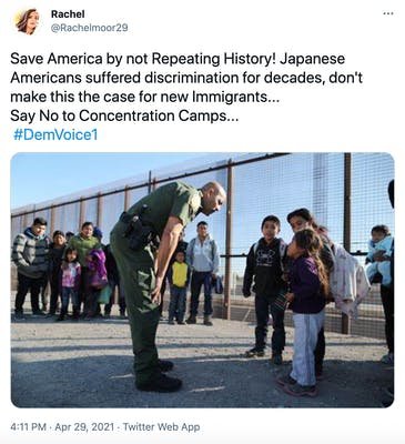 """Save America by not Repeating History! Japanese Americans suffered discrimination for decades, don't make this the case for new Immigrants... Say No to Concentration Camps...  #DemVoice1"" photograph of a soldier leaning down to speak to latino children by the wall"