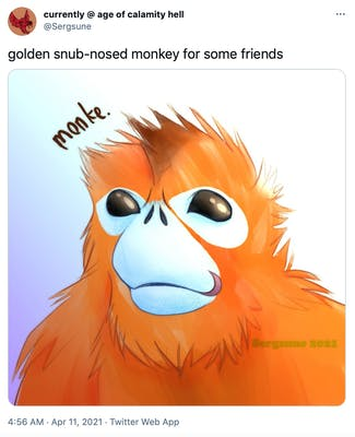 """golden snub-nosed monkey for some friends"" cartoon drawing of the monkey with orange fur and exaggerated features"