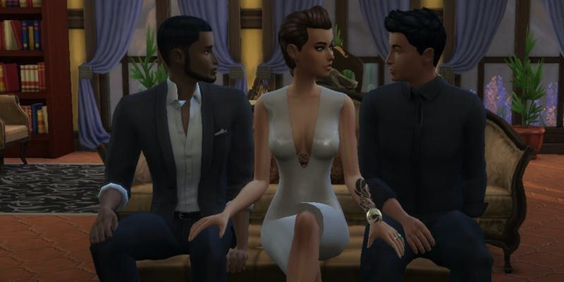 Two men and one women eye each other up in this The Sims 4 sex mod, Wicked Whims.