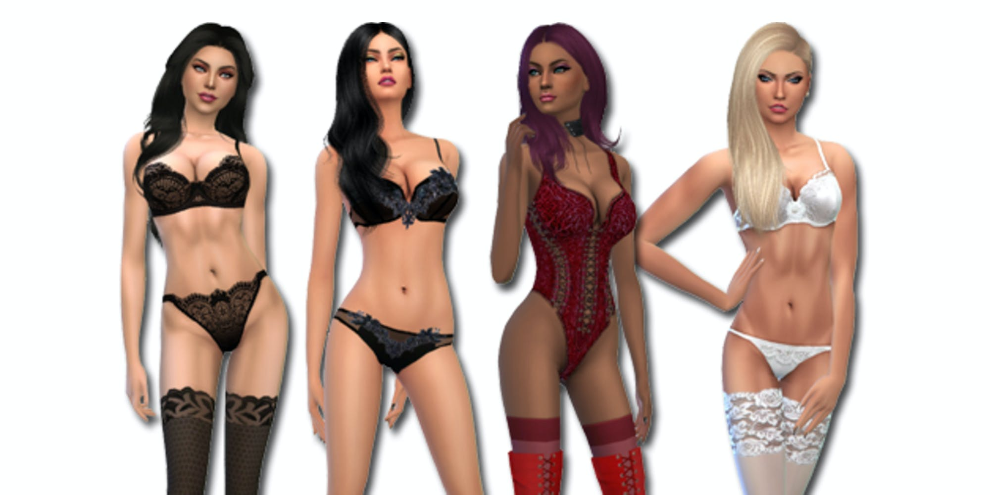 A picture of several women in lingerie in The Sims 4.