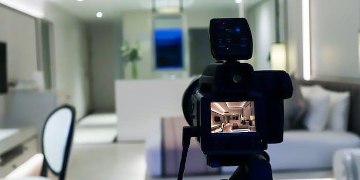 Camera set up to photograph living room