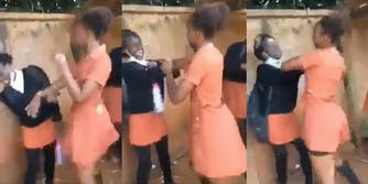 girl slapping another girl in video