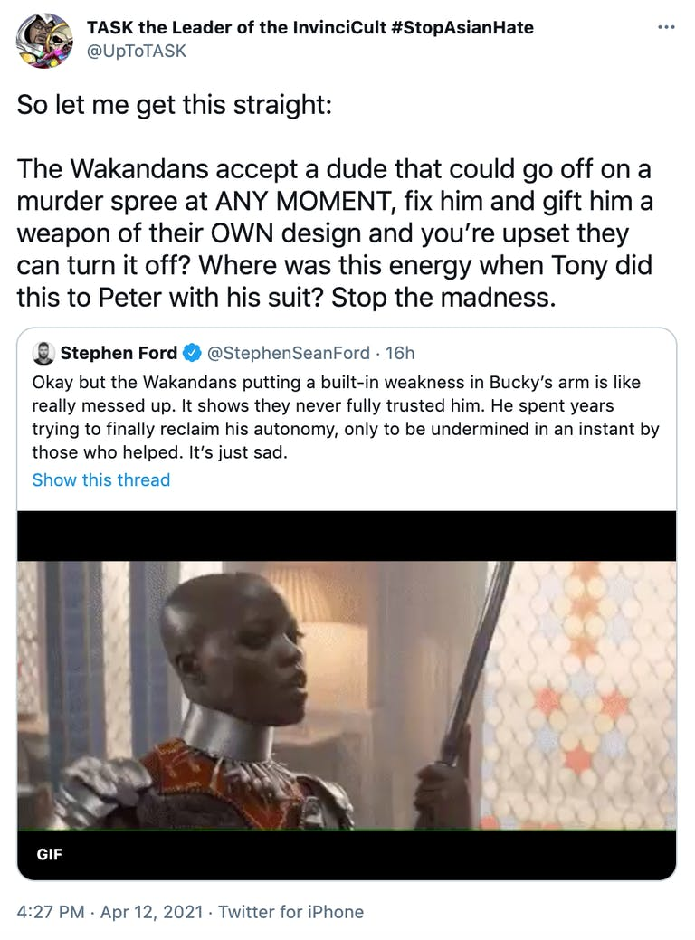 So let me get this straight:  The Wakandans accept a dude that could go off on a murder spree at ANY MOMENT, fix him and gift him a weapon of their OWN design and you're upset they can turn it off? Where was this energy when Tony did this to Peter with his suit? Stop the madness.