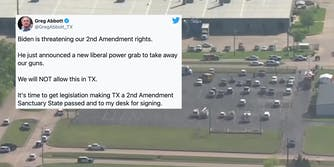 A tweet from Greg Abbott over the site of a mass shooting