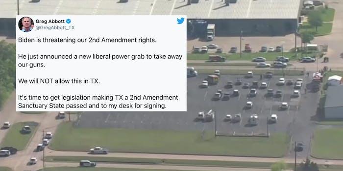 A tweet from Greg Abbott over the site of a mass shooting