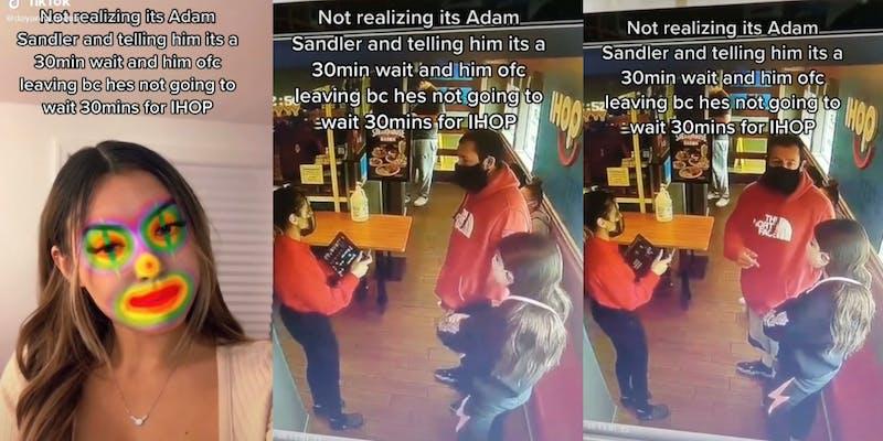 tiktok video of ihop worker turning away adam sandler