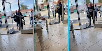 A woman shouts into a bakery from the entrance.