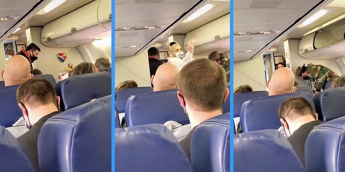 A couple getting kicked off of an airplane.