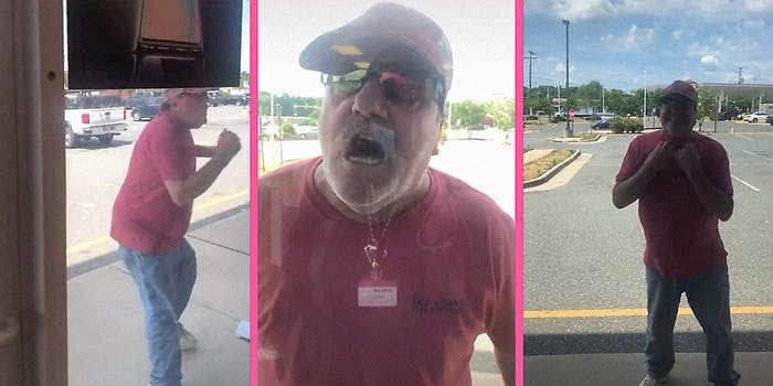 A man yelling outside of a cell phone store.