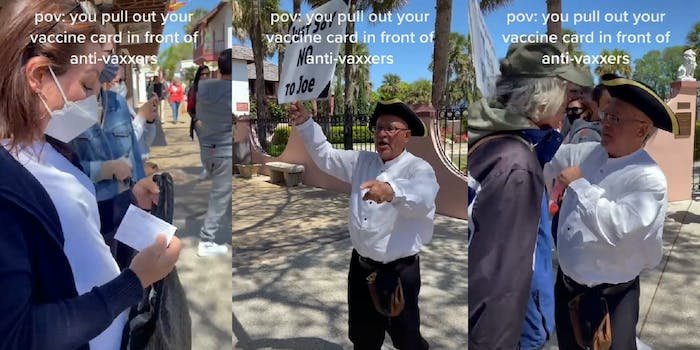 """woman holding vaccine card (l) tea party man dressed as a colonist holding """"just say no to joe"""" sign pointing (c) man blocking colonist (r)"""