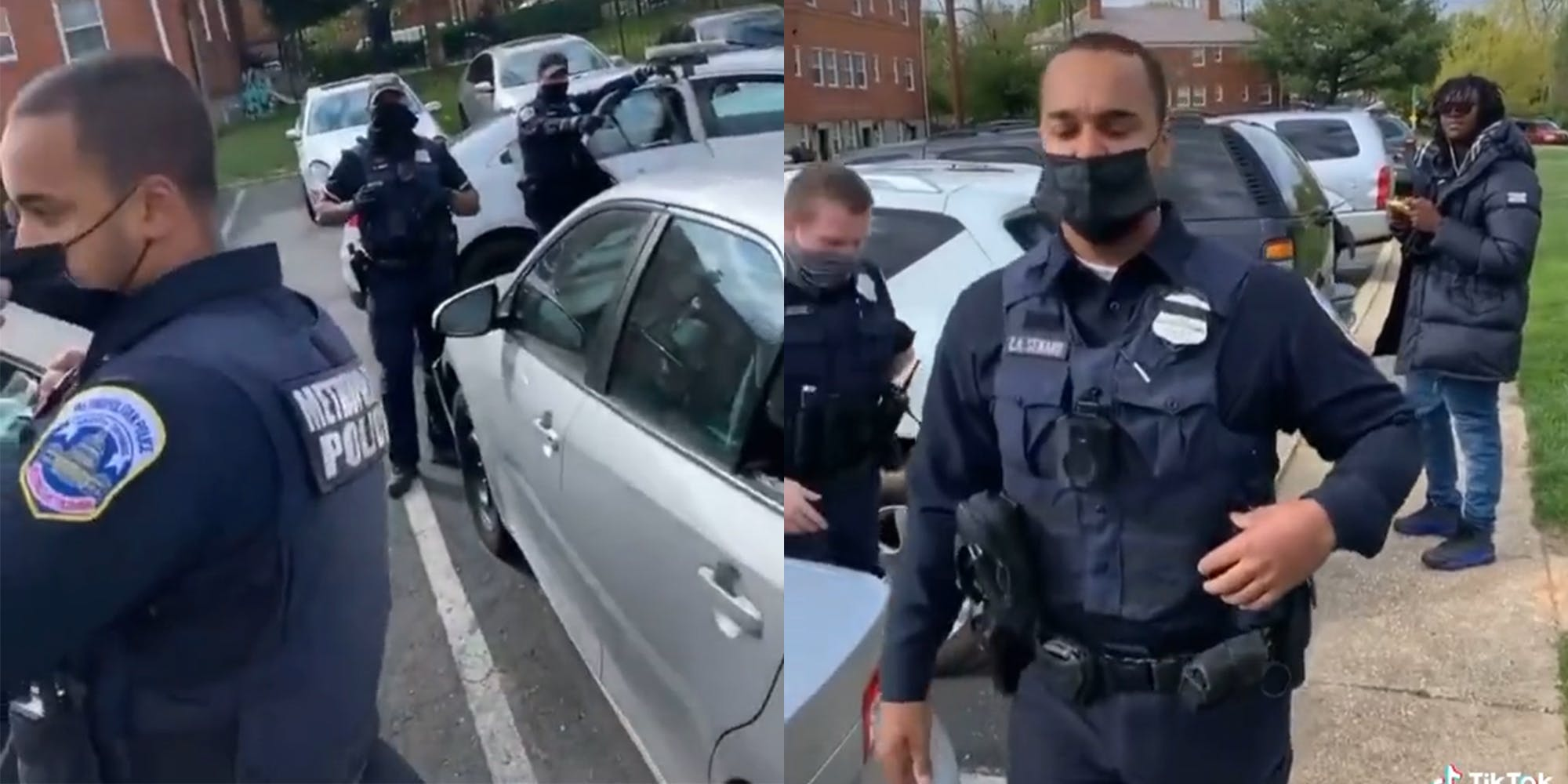 police officers standing around vehicles