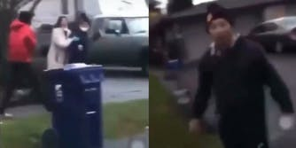 Video of an Asian couple being attacked
