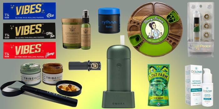 best stoner gifts include a vape, CBD lube, rolling papers, a stoner kit box, reusable glass filter tip, and more on a green tye-dye background.