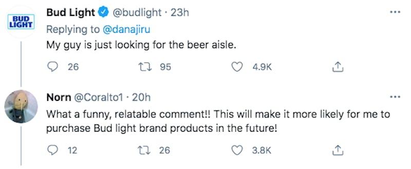 bud light tweet about lizard