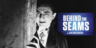 Bela Lugosi as Dracula with Behind the Seams with Gavia Baker-Whitelaw logo