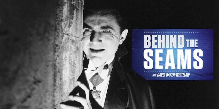 Bela Lugosi as Dracula with Behind the Seams with Gavia Baker-Whitelaw logo