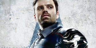 Winter Soldier looking off camera.