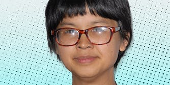 Charlyne Yi looking into camera.