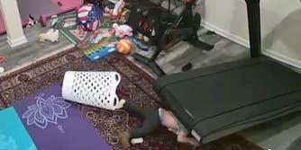 video shows child under peloton treadmill