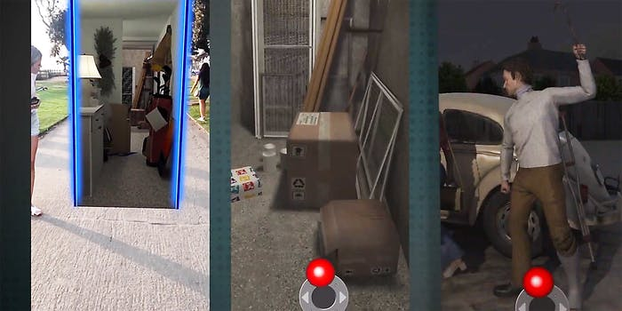 A woman looking into an augmented reality room (L), a CGI room with foxes (C), and a CGI man with crowbar (R).