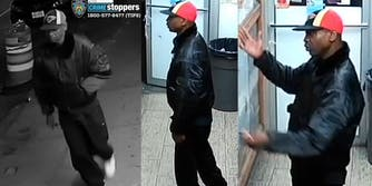 Black man walking in street (l) in store (c) with arms raised (r)